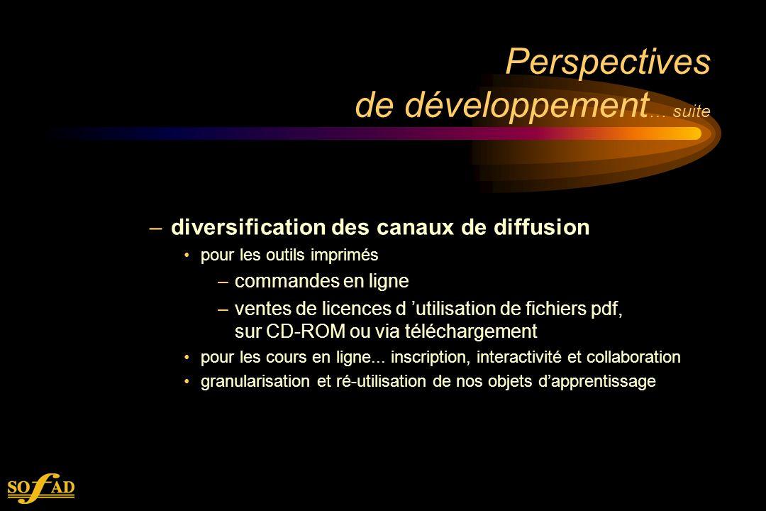 Perspectives de développement … suite –diversification des canaux de diffusion pour les outils imprimés –commandes en ligne –ventes de licences d utilisation de fichiers pdf, sur CD-ROM ou via téléchargement pour les cours en ligne...