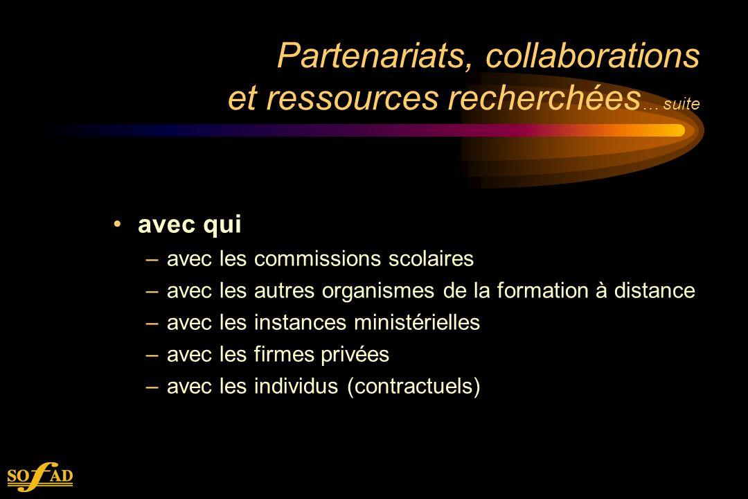 Partenariats, collaborations et ressources recherchées … suite avec qui –avec les commissions scolaires –avec les autres organismes de la formation à distance –avec les instances ministérielles –avec les firmes privées –avec les individus (contractuels)