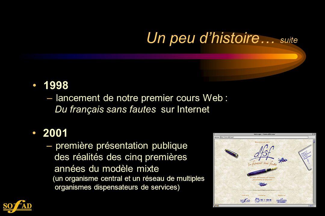 Un peu dhistoire… suite 1998 –lancement de notre premier cours Web : Du français sans fautes sur Internet 2001 –première présentation publique des réalités des cinq premières années du modèle mixte (un organisme central et un réseau de multiples organismes dispensateurs de services)