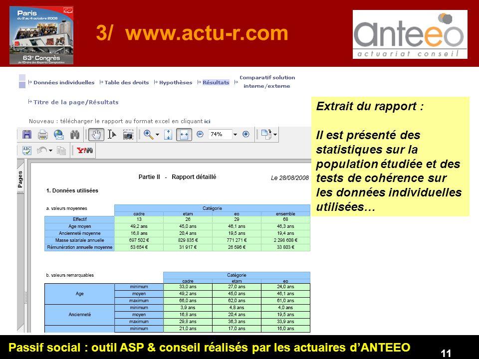 Passif social : outil ASP & conseil réalisés par les actuaires dANTEEO 11 3/ www.actu-r.com Extrait du rapport : Il est présenté des statistiques sur la population étudiée et des tests de cohérence sur les données individuelles utilisées…