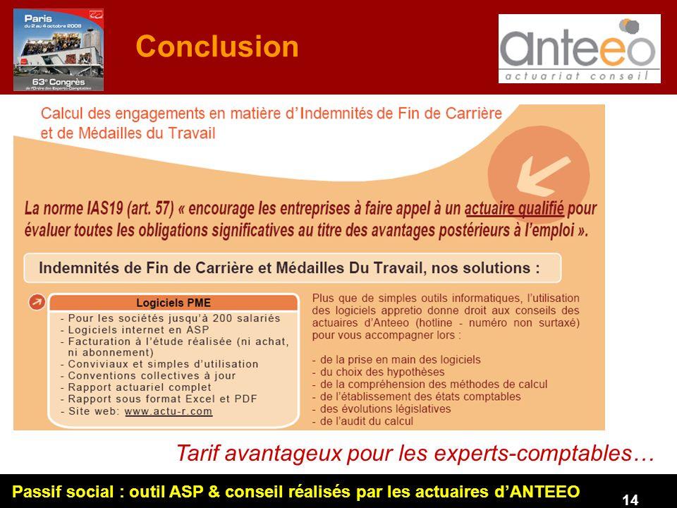 Passif social : outil ASP & conseil réalisés par les actuaires dANTEEO 14 Conclusion Tarif avantageux pour les experts-comptables…