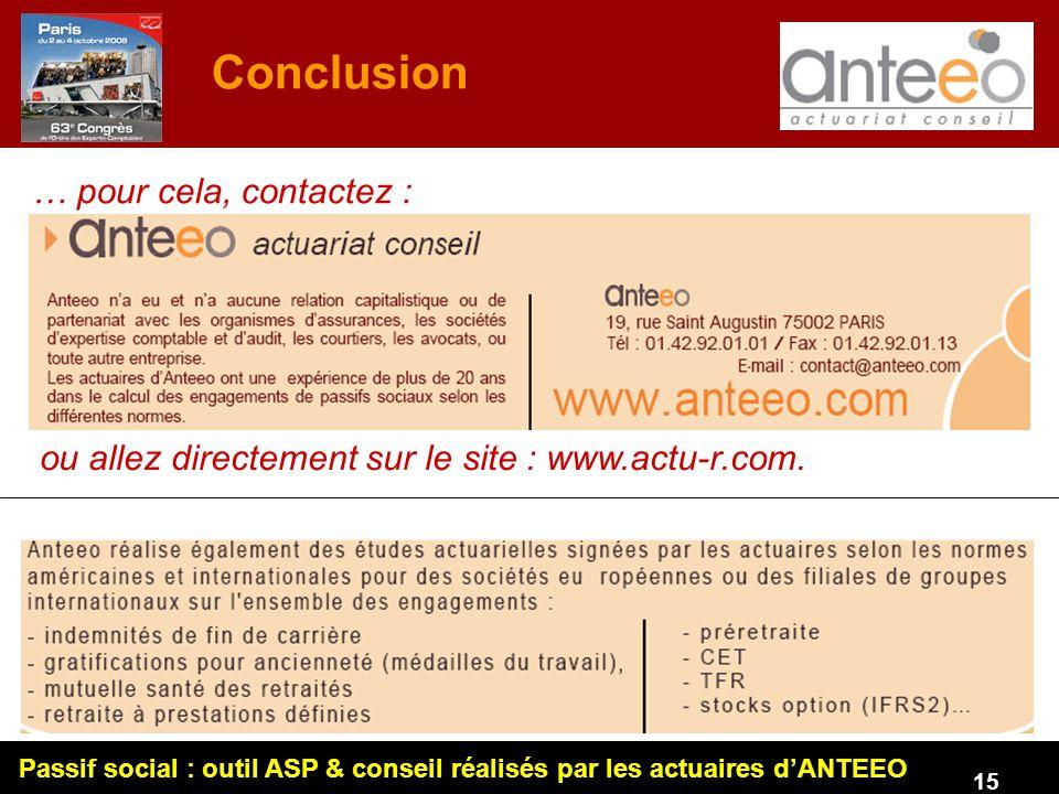 Passif social : outil ASP & conseil réalisés par les actuaires dANTEEO 15 Conclusion … pour cela, contactez : ou allez directement sur le site : www.actu-r.com.
