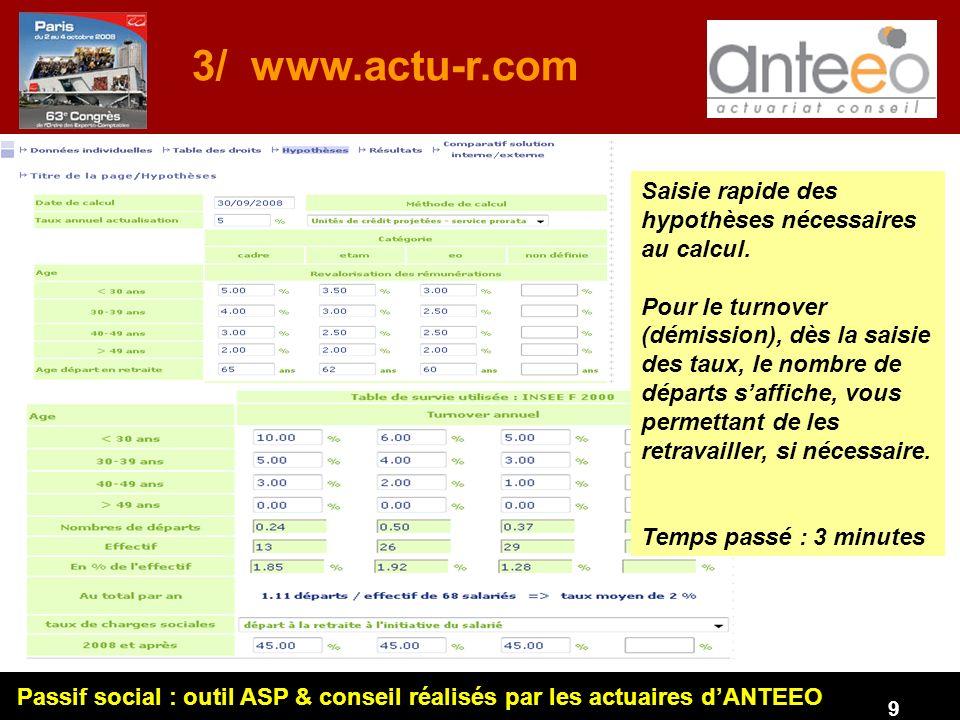 Passif social : outil ASP & conseil réalisés par les actuaires dANTEEO 9 3/ www.actu-r.com Saisie rapide des hypothèses nécessaires au calcul.
