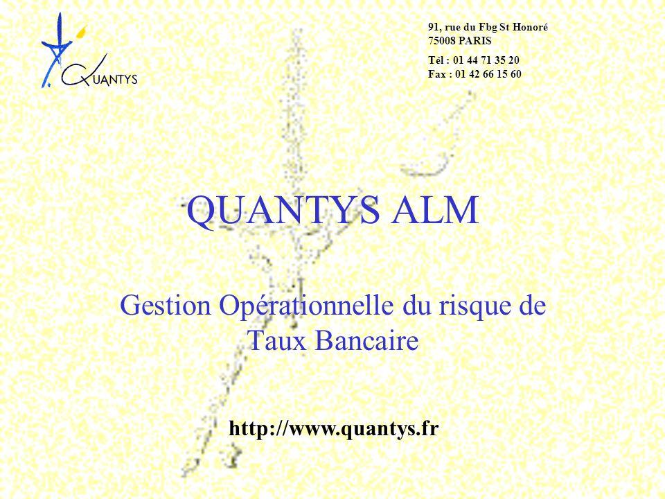QUANTYS ALM Gestion Opérationnelle du risque de Taux Bancaire 91, rue du Fbg St Honoré 75008 PARIS Tél : 01 44 71 35 20 Fax : 01 42 66 15 60 http://ww