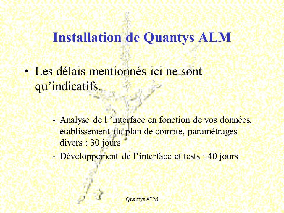 Quantys ALM Installation de Quantys ALM Les délais mentionnés ici ne sont quindicatifs. -Analyse de l interface en fonction de vos données, établissem