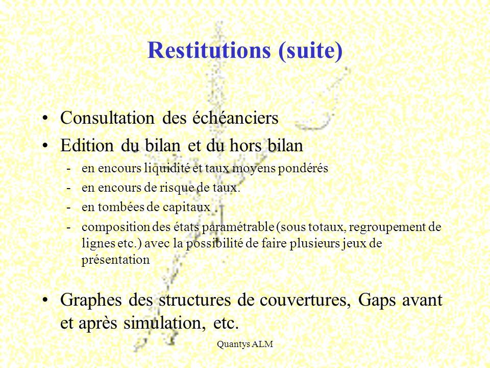 Quantys ALM Restitutions (suite) Consultation des échéanciers Edition du bilan et du hors bilan -en encours liquidité et taux moyens pondérés -en enco
