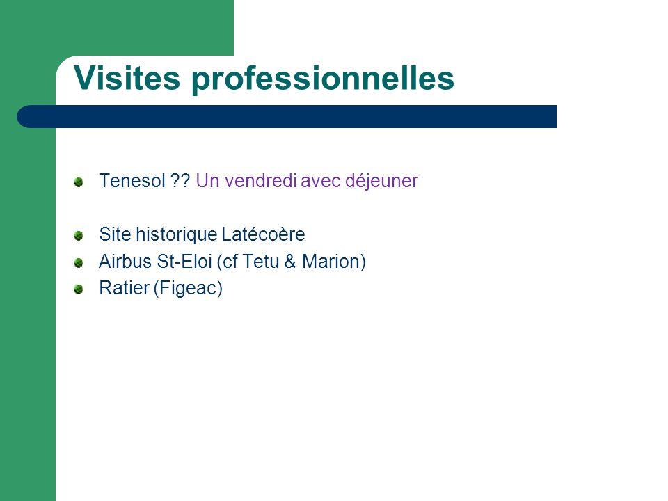 Visites professionnelles Tenesol ?? Un vendredi avec déjeuner Site historique Latécoère Airbus St-Eloi (cf Tetu & Marion) Ratier (Figeac)
