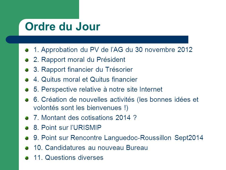 Ordre du Jour 1. Approbation du PV de lAG du 30 novembre 2012 2. Rapport moral du Président 3. Rapport financier du Trésorier 4. Quitus moral et Quitu