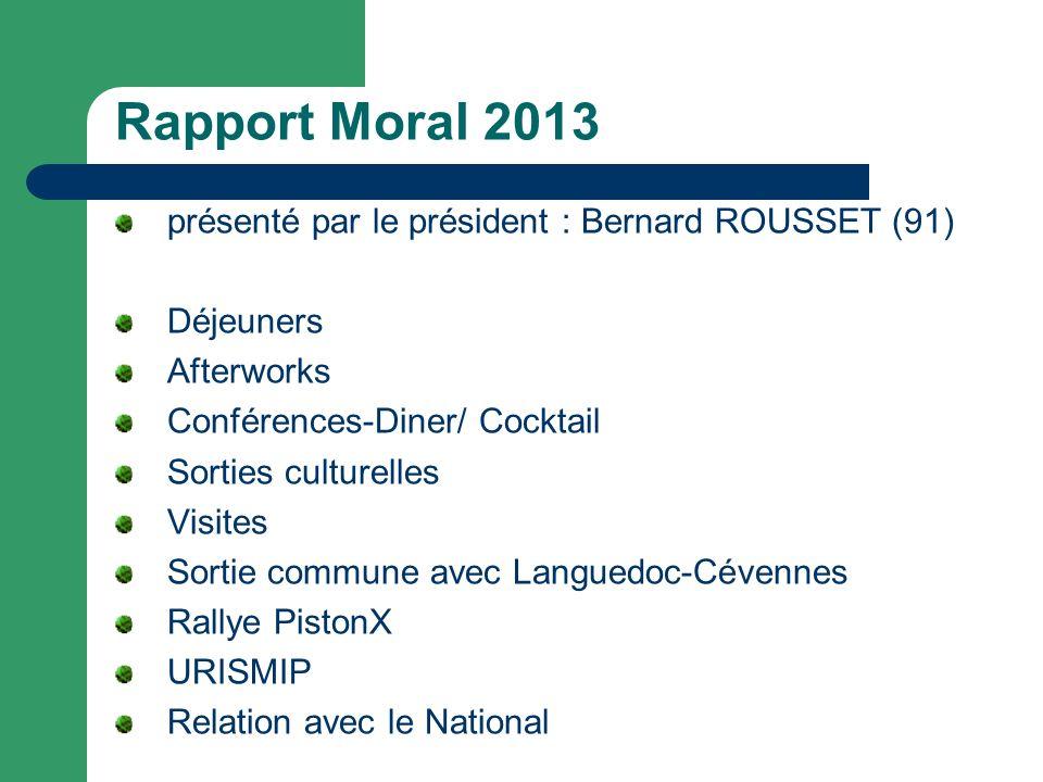 Rapport Moral 2013 présenté par le président : Bernard ROUSSET (91) Déjeuners Afterworks Conférences-Diner/ Cocktail Sorties culturelles Visites Sorti