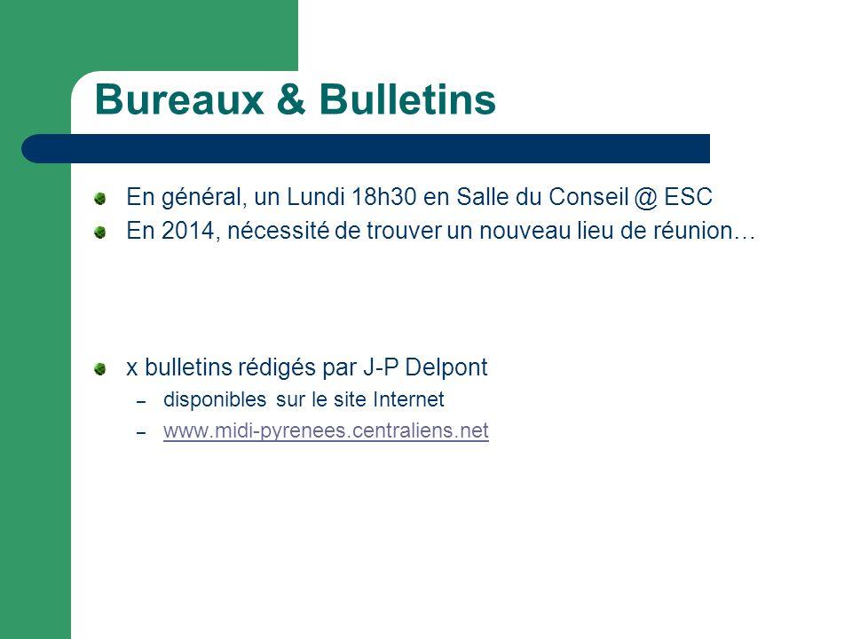 Bureaux & Bulletins En général, un Lundi 18h30 en Salle du Conseil @ ESC En 2014, nécessité de trouver un nouveau lieu de réunion… x bulletins rédigés