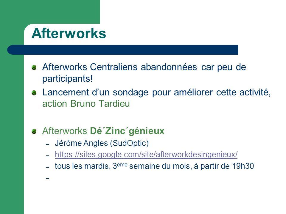 Afterworks Afterworks Centraliens abandonnées car peu de participants! Lancement dun sondage pour améliorer cette activité, action Bruno Tardieu After