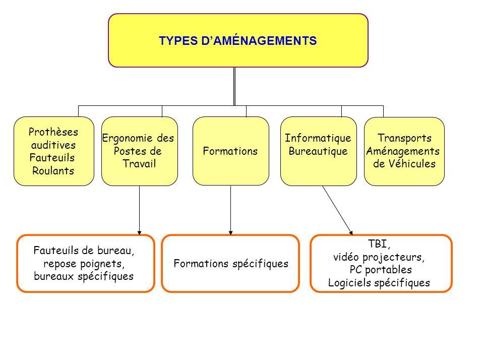 Formations TYPES DAMÉNAGEMENTS Prothèses auditives Fauteuils Roulants Ergonomie des Postes de Travail Informatique Bureautique Transports Aménagements
