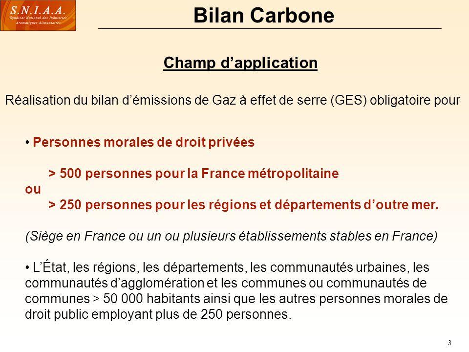 3 Bilan Carbone Champ dapplication Personnes morales de droit privées > 500 personnes pour la France métropolitaine ou > 250 personnes pour les régions et départements doutre mer.