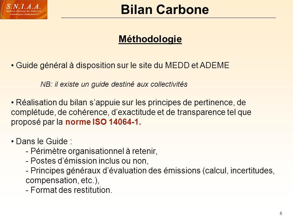 6 Bilan Carbone Méthodologie Guide général à disposition sur le site du MEDD et ADEME NB: il existe un guide destiné aux collectivités Réalisation du bilan sappuie sur les principes de pertinence, de complétude, de cohérence, dexactitude et de transparence tel que proposé par la norme ISO 14064-1.