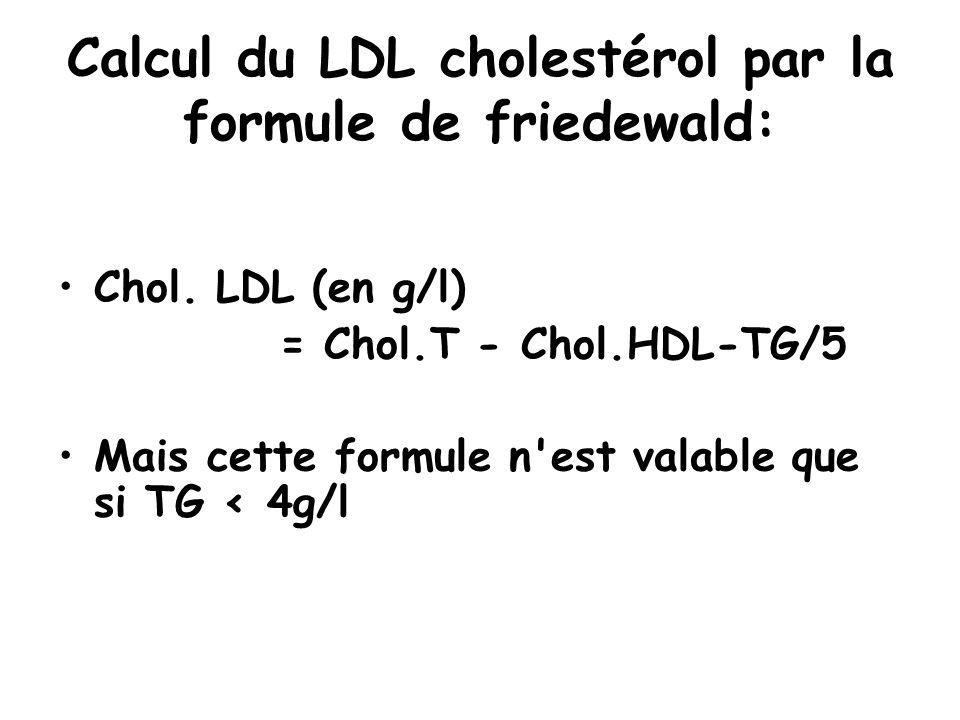 Calcul du LDL cholestérol par la formule de friedewald: Chol. LDL (en g/l) = Chol.T - Chol.HDL-TG/5 Mais cette formule n'est valable que si TG < 4g/l
