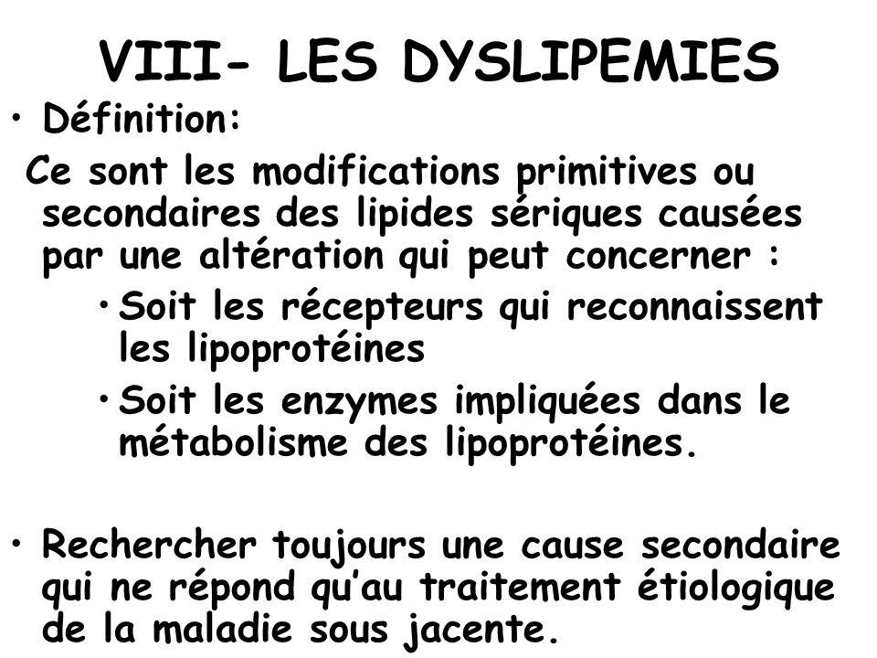 VIII- LES DYSLIPEMIES Définition: Ce sont les modifications primitives ou secondaires des lipides sériques causées par une altération qui peut concern