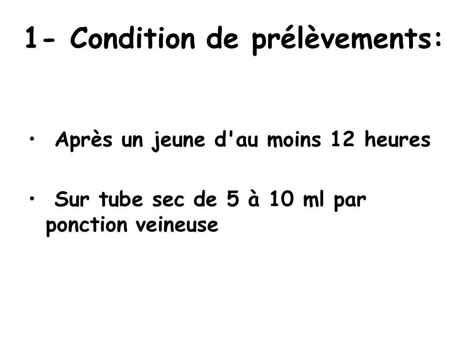 1- Condition de prélèvements: Après un jeune d'au moins 12 heures Sur tube sec de 5 à 10 ml par ponction veineuse