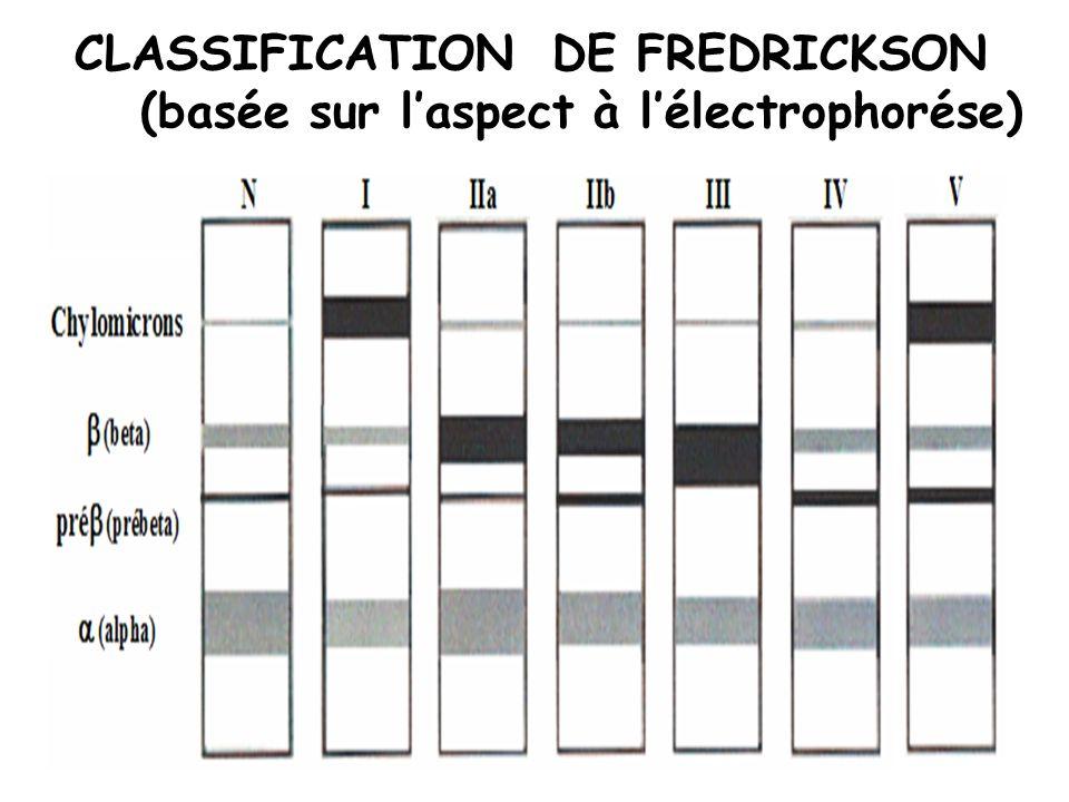 CLASSIFICATION DE FREDRICKSON (basée sur laspect à lélectrophorése)