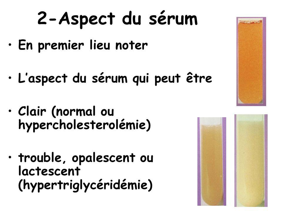 2-Aspect du sérum En premier lieu noter Laspect du sérum qui peut être Clair (normal ou hypercholesterolémie) trouble, opalescent ou lactescent (hyper