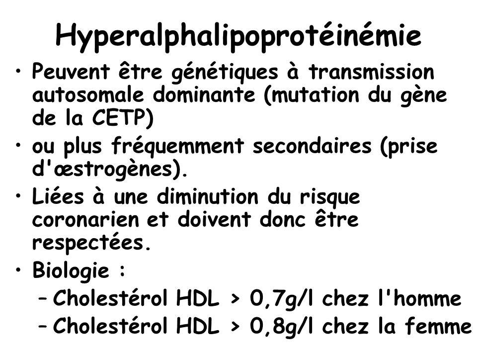 Hyperalphalipoprotéinémie Peuvent être génétiques à transmission autosomale dominante (mutation du gène de la CETP) ou plus fréquemment secondaires (p