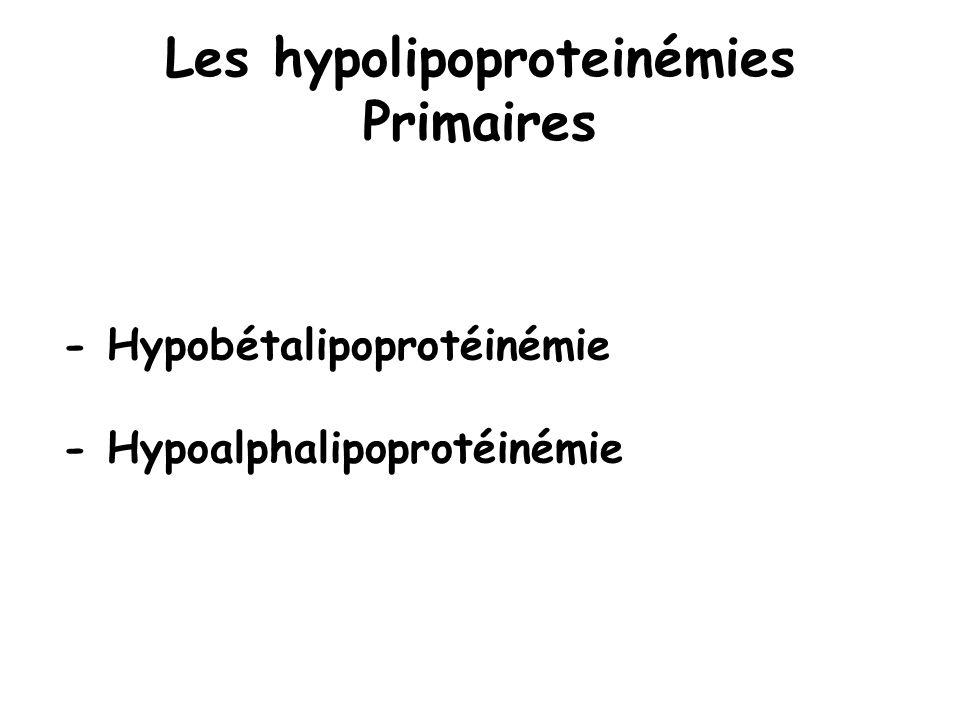 Les hypolipoproteinémies Primaires - Hypobétalipoprotéinémie - Hypoalphalipoprotéinémie
