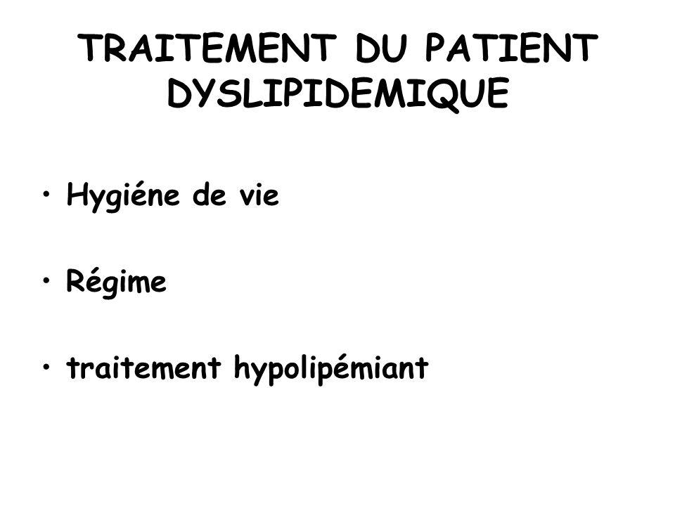 TRAITEMENT DU PATIENT DYSLIPIDEMIQUE Hygiéne de vie Régime traitement hypolipémiant