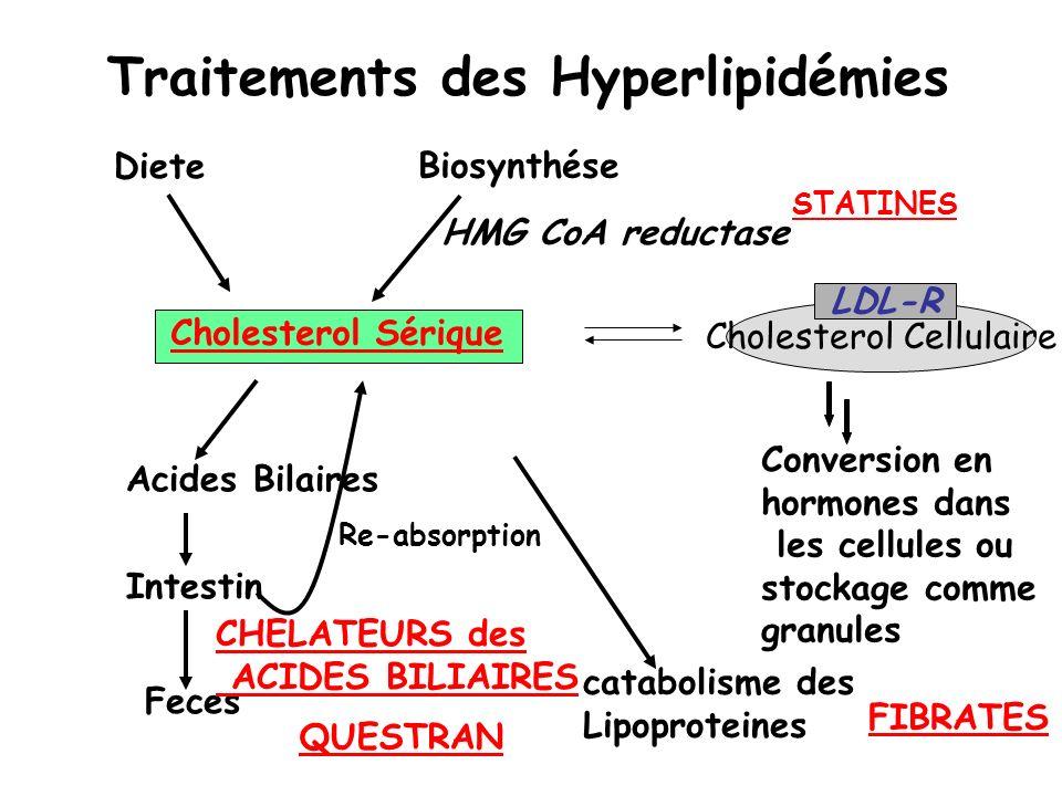 Traitements des Hyperlipidémies Cholesterol Sérique Cholesterol Cellulaire LDL-R Conversion en hormones dans les cellules ou stockage comme granules H