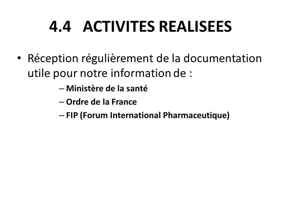 4.4 ACTIVITES REALISEES Réception régulièrement de la documentation utile pour notre information de : – Ministère de la santé – Ordre de la France – F