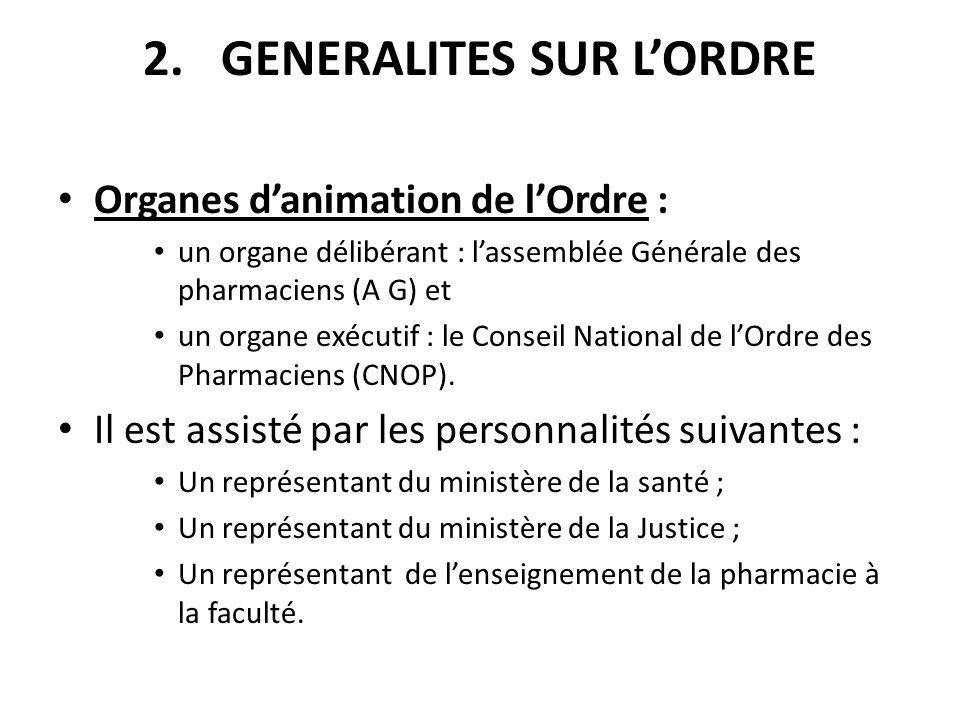 2.GENERALITES SUR LORDRE Organes danimation de lOrdre : un organe délibérant : lassemblée Générale des pharmaciens (A G) et un organe exécutif : le Co
