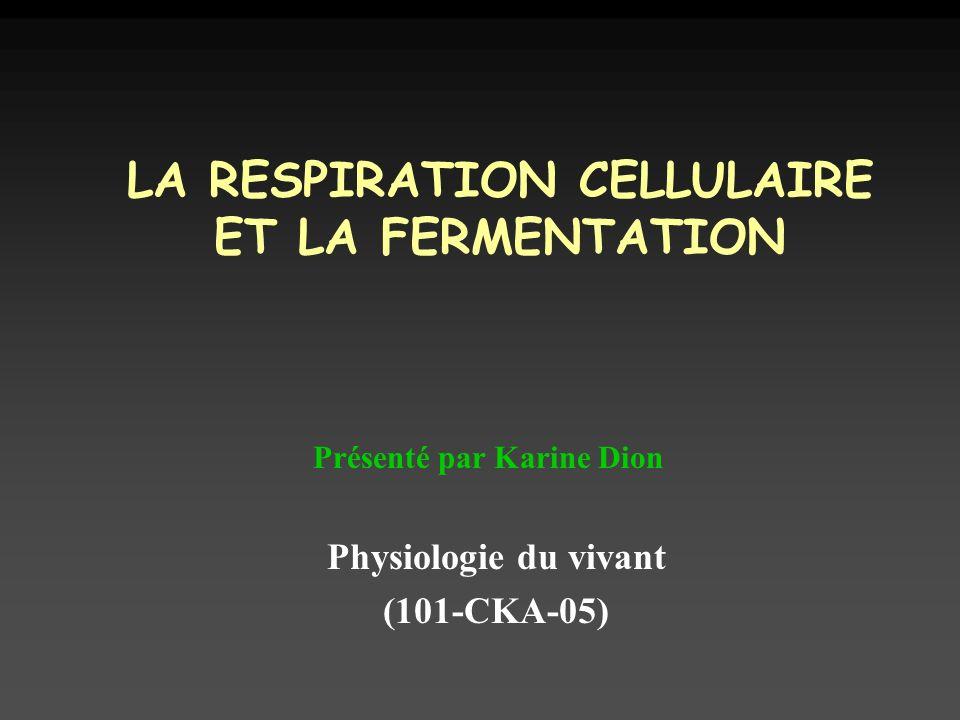 LA RESPIRATION CELLULAIRE ET LA FERMENTATION Physiologie du vivant (101-CKA-05) Présenté par Karine Dion