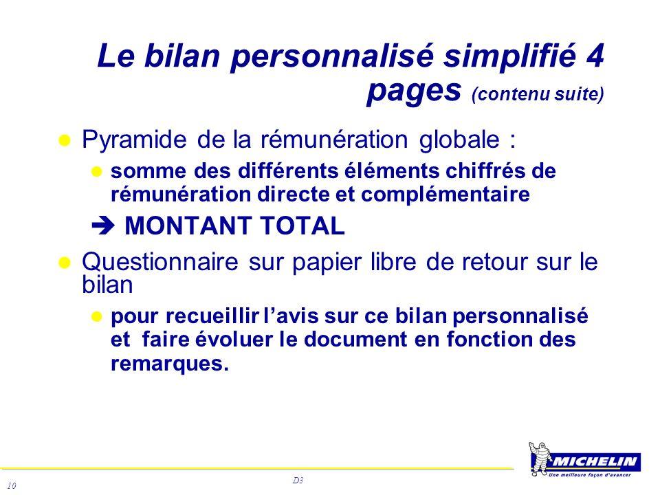 D3 10 Le bilan personnalisé simplifié 4 pages (contenu suite) Pyramide de la rémunération globale : somme des différents éléments chiffrés de rémunéra