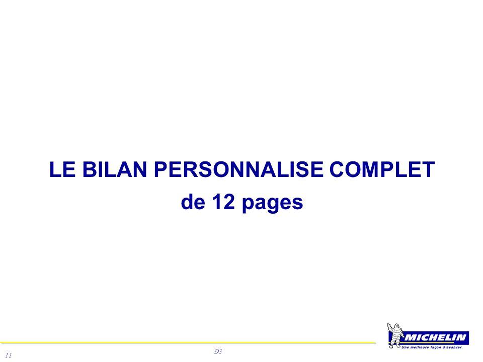 D3 11 LE BILAN PERSONNALISE COMPLET de 12 pages