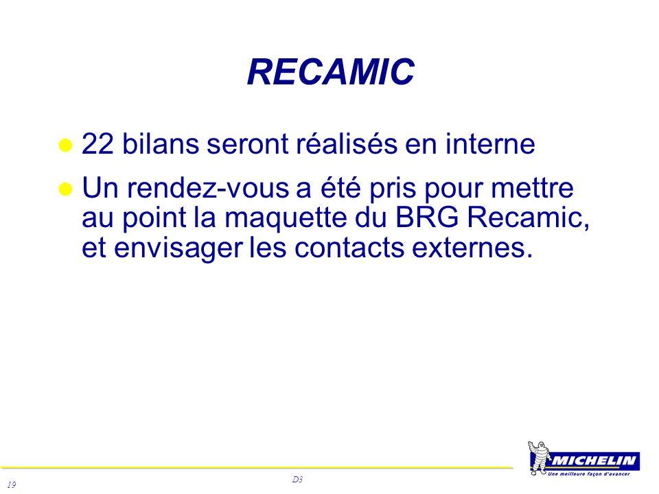 D3 19 RECAMIC 22 bilans seront réalisés en interne Un rendez-vous a été pris pour mettre au point la maquette du BRG Recamic, et envisager les contact