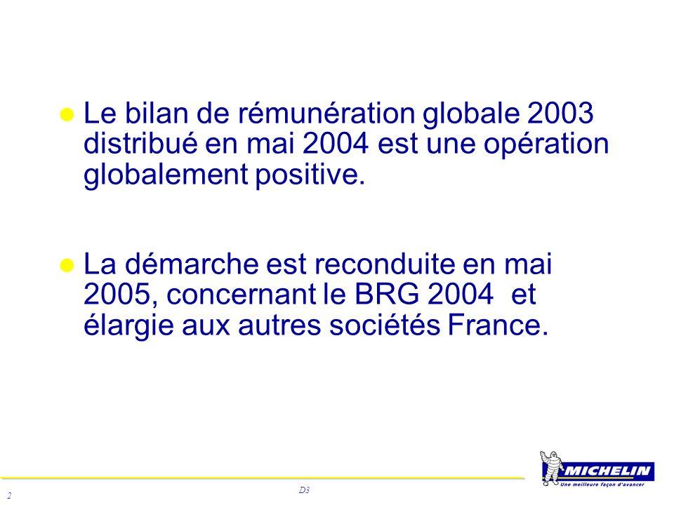 D3 2 Le bilan de rémunération globale 2003 distribué en mai 2004 est une opération globalement positive. La démarche est reconduite en mai 2005, conce