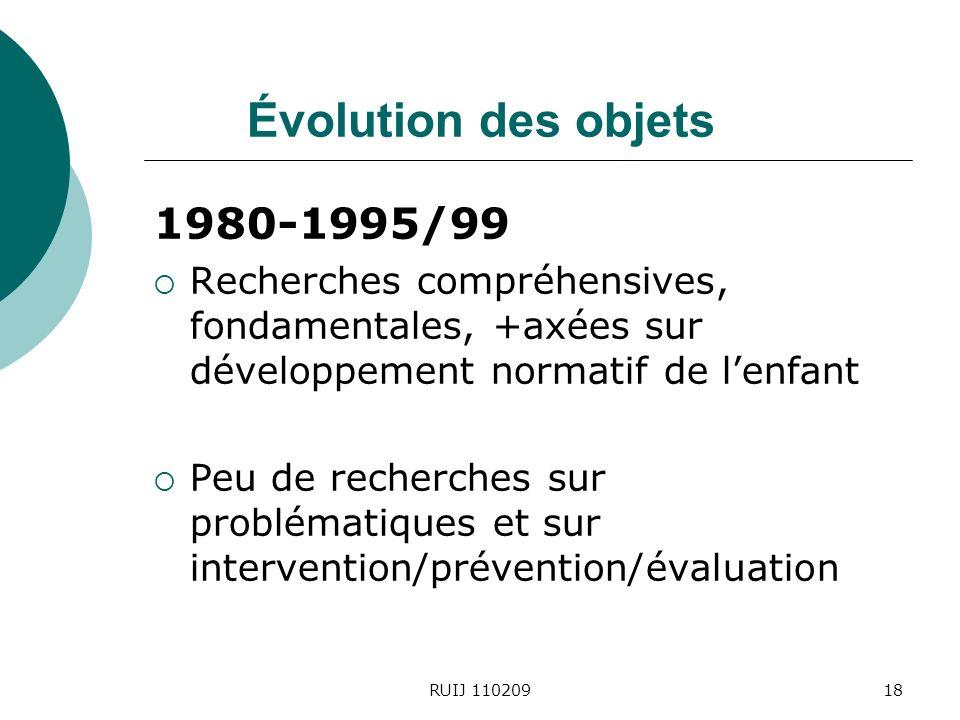 RUIJ 11020918 Évolution des objets 1980-1995/99 Recherches compréhensives, fondamentales, +axées sur développement normatif de lenfant Peu de recherches sur problématiques et sur intervention/prévention/évaluation
