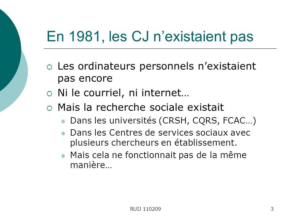 3 En 1981, les CJ nexistaient pas Les ordinateurs personnels nexistaient pas encore Ni le courriel, ni internet… Mais la recherche sociale existait Dans les universités (CRSH, CQRS, FCAC…) Dans les Centres de services sociaux avec plusieurs chercheurs en établissement.