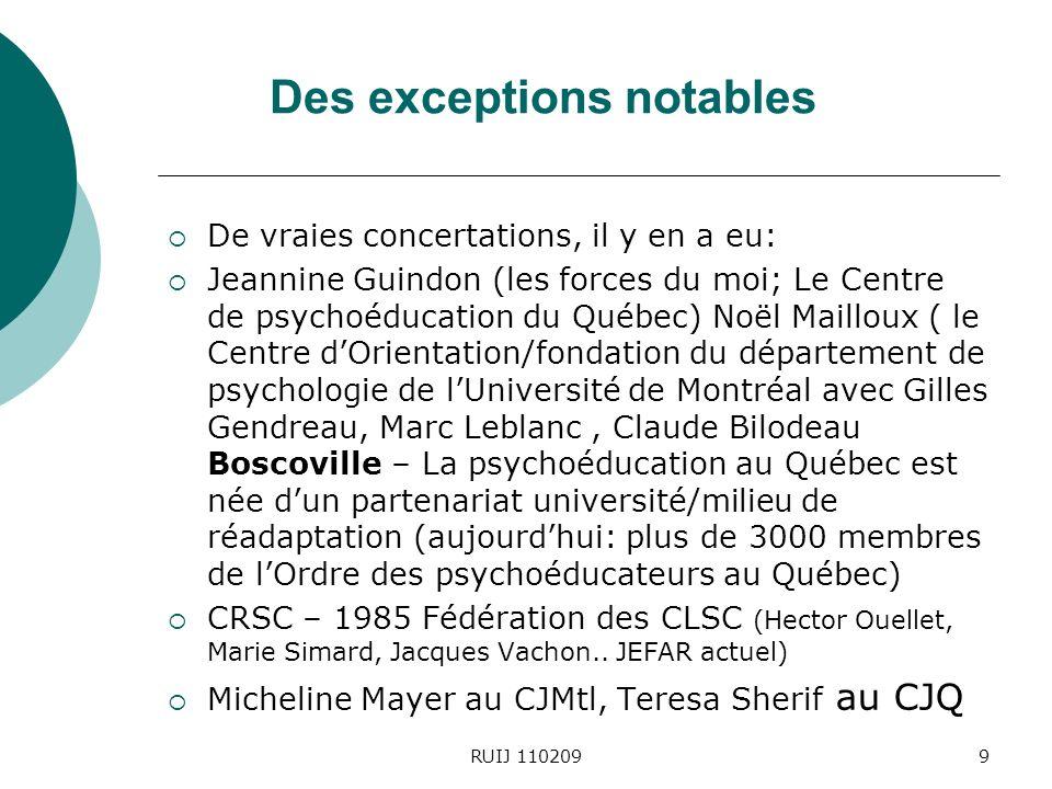Des exceptions notables De vraies concertations, il y en a eu: Jeannine Guindon (les forces du moi; Le Centre de psychoéducation du Québec) Noël Mailloux ( le Centre dOrientation/fondation du département de psychologie de lUniversité de Montréal avec Gilles Gendreau, Marc Leblanc, Claude Bilodeau Boscoville – La psychoéducation au Québec est née dun partenariat université/milieu de réadaptation (aujourdhui: plus de 3000 membres de lOrdre des psychoéducateurs au Québec) CRSC – 1985 Fédération des CLSC (Hector Ouellet, Marie Simard, Jacques Vachon..