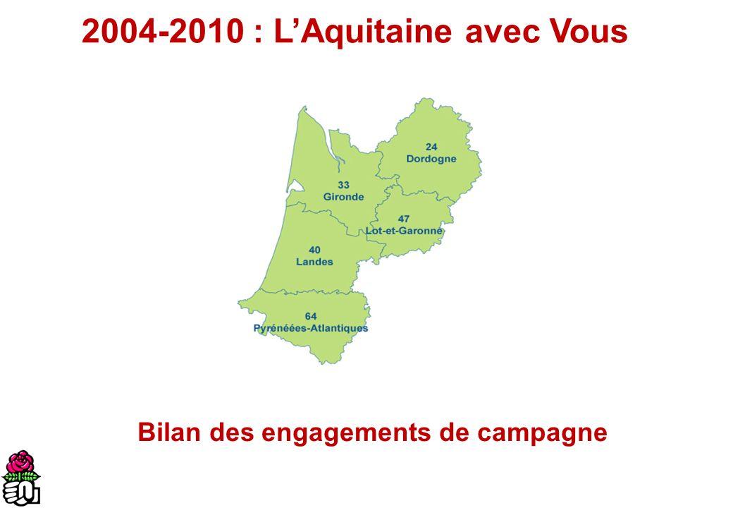 2004-2010 : LAquitaine avec Vous Bilan des engagements de campagne