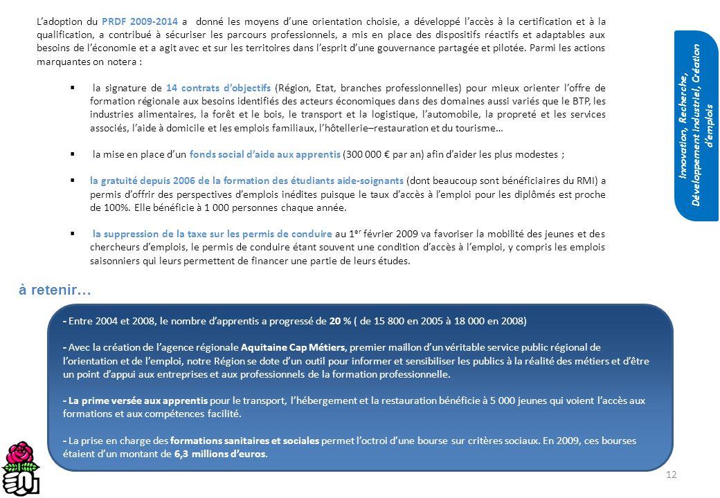 12 Ladoption du PRDF 2009-2014 a donné les moyens dune orientation choisie, a développé laccès à la certification et à la qualification, a contribué à