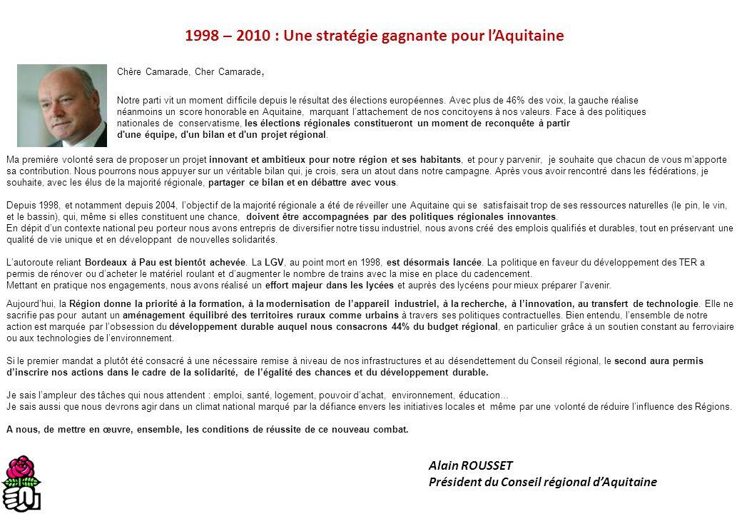 1998 – 2010 : Une stratégie gagnante pour lAquitaine Chère Camarade, Cher Camarade, Notre parti vit un moment difficile depuis le résultat des électio