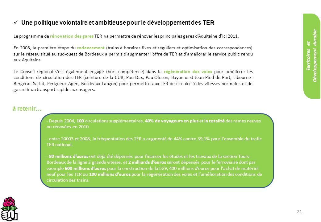 21 Une politique volontaire et ambitieuse pour le développement des TER Le programme de rénovation des gares TER va permettre de rénover les principal