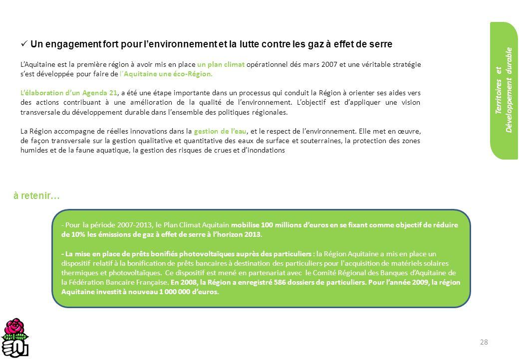 28 Un engagement fort pour lenvironnement et la lutte contre les gaz à effet de serre LAquitaine est la première région à avoir mis en place un plan c