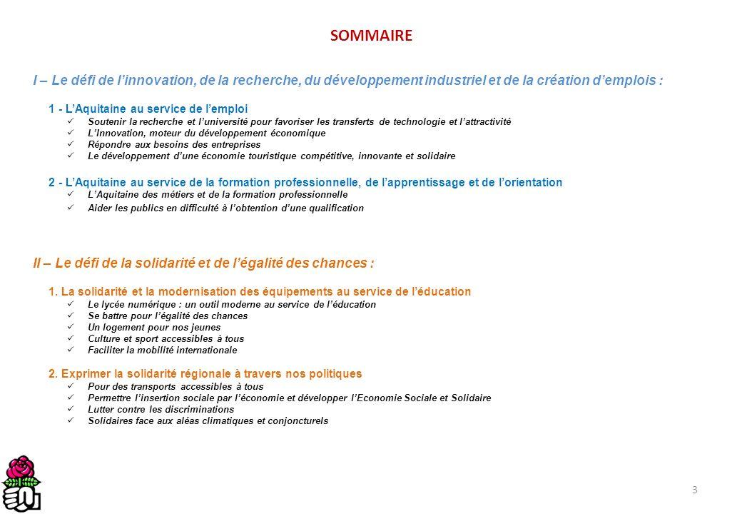 4 SOMMAIRE III – Le défi de laménagement des territoires et du développement durable : 1.