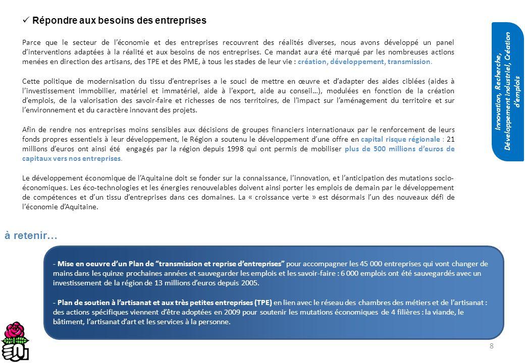 19 Permettre linsertion sociale par léconomie et développer lEconomie Sociale et Solidaire La Région réintègre les personnes les plus éloignées du marché du travail en développant une collaboration étroite avec le tissu associatif Aquitain très dynamique (partenariat avec France Active pour accorder des avances remboursables à 0% sans garantie et avec le Crédit Coopératif pour louverture du Livret Agir - Aquitaine Active rémunéré au taux du livret A).
