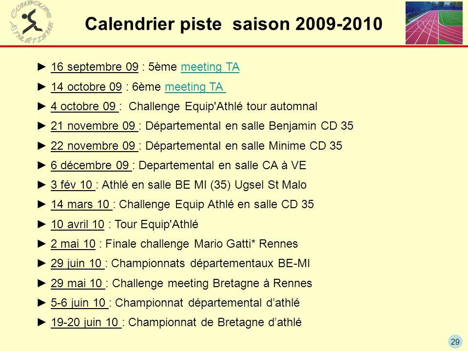29 Calendrier piste saison 2009-2010 16 septembre 09 : 5ème meeting TAmeeting TA 14 octobre 09 : 6ème meeting TA meeting TA 4 octobre 09 : Challenge E