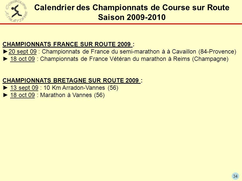 34 Calendrier des Championnats de Course sur Route Saison 2009-2010 CHAMPIONNATS FRANCE SUR ROUTE 2009 : 20 sept 09 : Championnats de France du semi-m