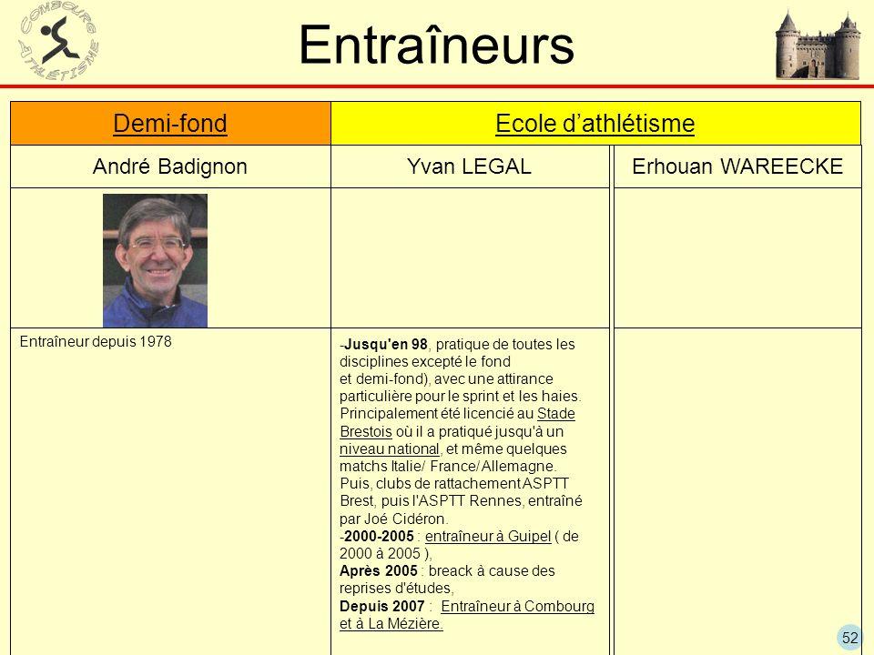 52 Entraîneurs André BadignonYvan LEGAL Demi-fond Ecole dathlétisme Erhouan WAREECKE Entraîneur depuis 1978 -Jusqu'en 98, pratique de toutes les disci