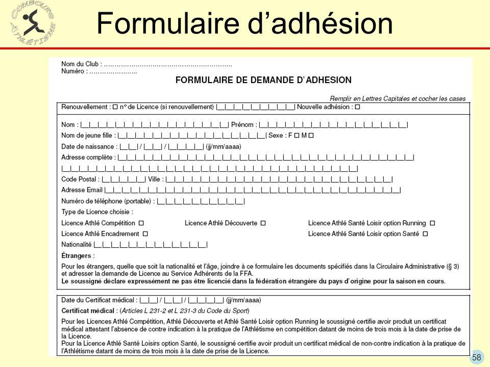 58 Formulaire dadhésion