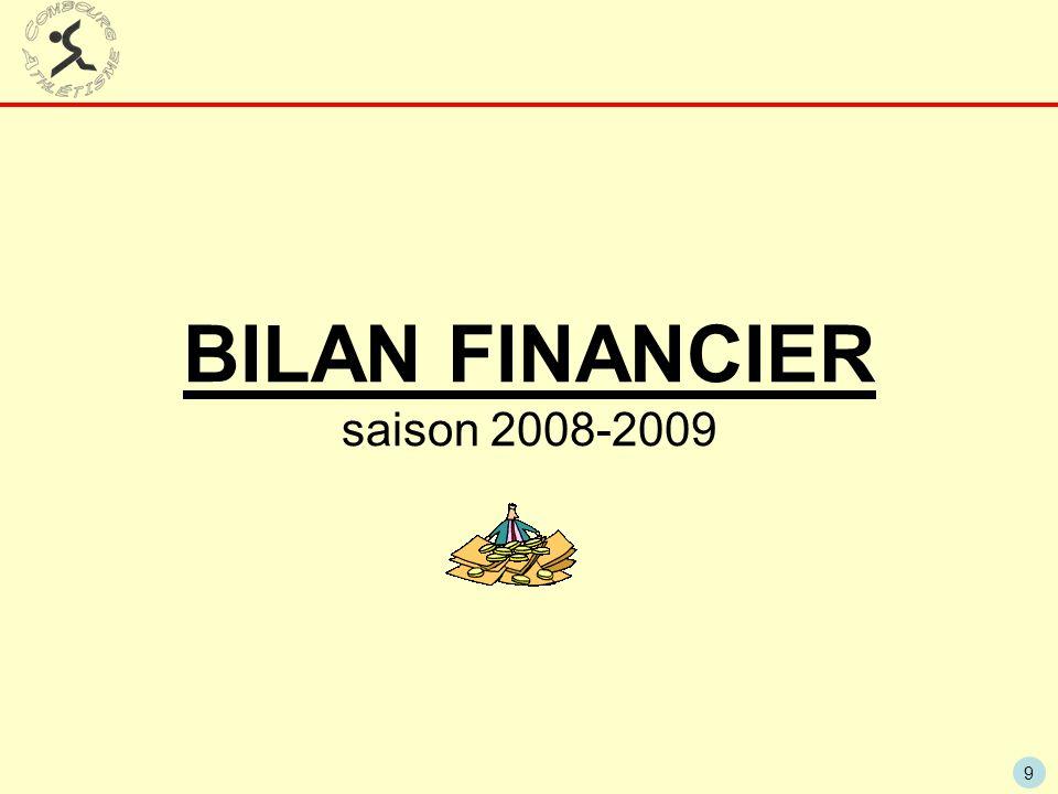 9 BILAN FINANCIER saison 2008-2009