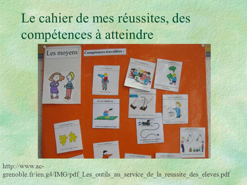Le cahier de mes réussites, des compétences à atteindre http://www.ac- grenoble.fr/ien.g4/IMG/pdf_Les_outils_au_service_de_la_reussite_des_eleves.pdf